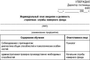 План введения в должность администратора торгового зала