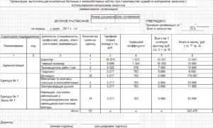 Штатное расписание строительной организации