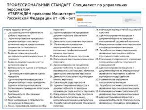 Профстандарт начальника отдела кадров