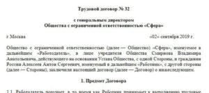 Трудовой договор с генеральным директором ООО: образец 2021