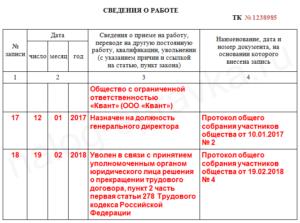Увольнение генерального директора: запись в трудовой книжке образец 2021