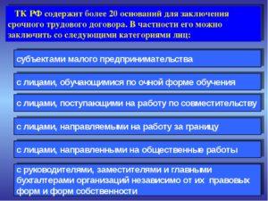 Основания для заключения срочного трудового договора в 2019 году