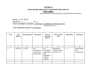 Журнал регистрации приказов: правила заполнения