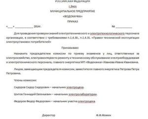 Приказ о создании комиссии по проверке состояния работы с кадровой документацией
