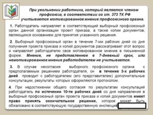 Уведомление профкома об увольнении члена профсоюза