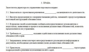 Должностная инструкция заместителя директора по персоналу