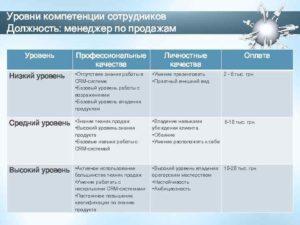 Пример модели компетенций менеджера по продажам