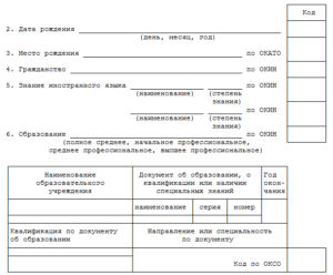 Шаблон Личной карточка государственного (муниципального) служащего