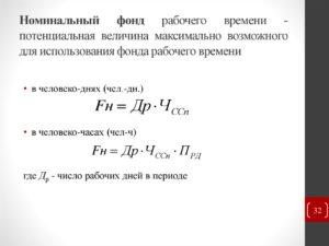 Формула расчета фонда рабочего времени и его особенности