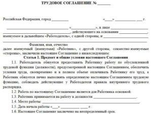 Трудовой договор со штатным сотрудником службы ДОУ