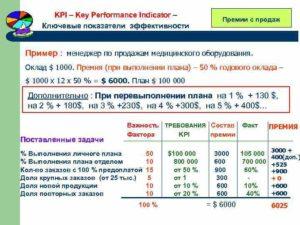 Премирование по KPI