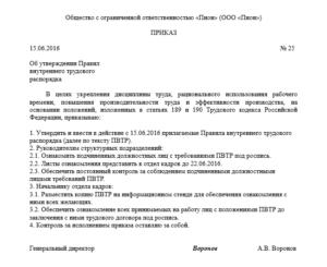 Приказ об утверждении правил внутреннего трудового распорядка: образец 2021
