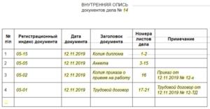 Внутренняя опись документов личного дела: образец 2019