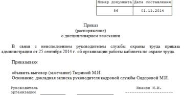 О признании приказа о наложении дисциплинарного взыскания незаконным