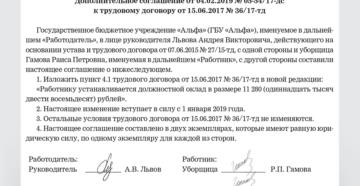 Дополнительное соглашение к трудовому договору об изменении оклада: образец 2019
