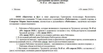 Соглашение о расторжении договора по соглашению сторон: образец 2021