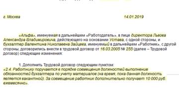 Дополнительное соглашение к трудовому договору о совмещении должностей: образец 2021