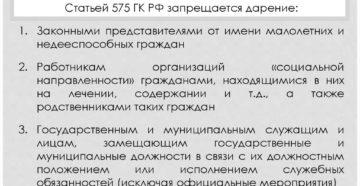 Законодательство о запрете дарения отдельным категориям лиц