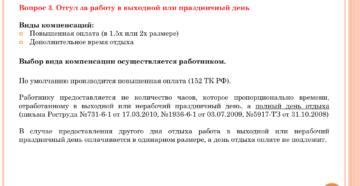 Предоставление отгула за работу в выходной день по ТК РФ