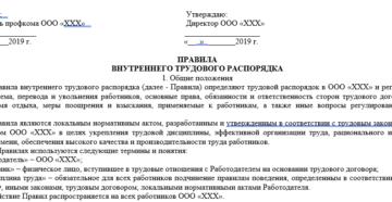 Правила внутреннего трудового распорядка: образец 2019