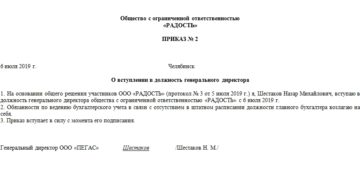 Приказ о вступлении в должность генерального директора: образец 2021
